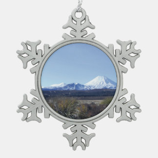 triple mountains new zealand snowflake pewter christmas ornament