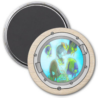 Triple Portholes 3 Inch Round Magnet