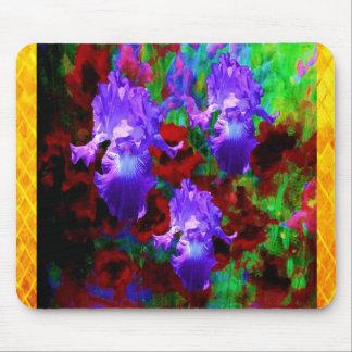 triple Purple Iris Red Poppies Garden Mouse Pad