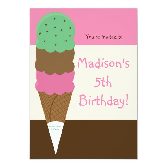 Triple Scoop Ice Cream Birthday Party Invitation