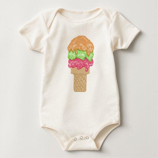 Triple Scroop Ice Cream Cone Treat Baby Bodysuit