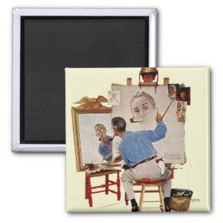 Triple Self-Portrait Square Magnet