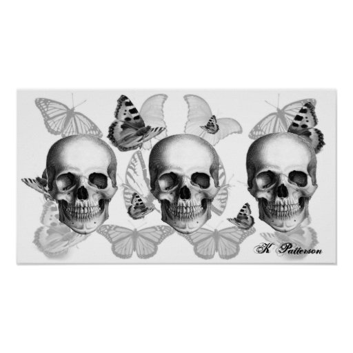 Triple skull and butterflies poster