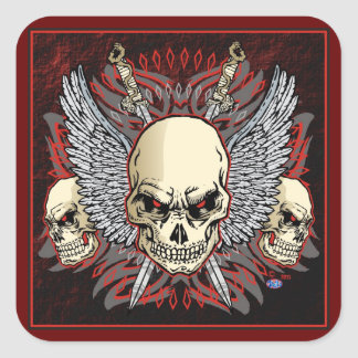 triple skulls of death design richard legarreta square sticker