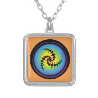 Triple Spiral Crop Circle Silver Plated Necklace