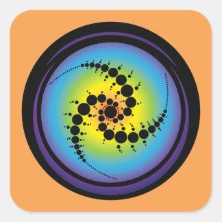 Triple Spiral Crop Circle Square Sticker