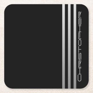 * Triple Stripe Square Paper Coaster