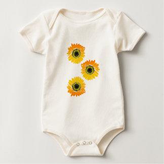Triple Sunflowers Baby Bodysuit