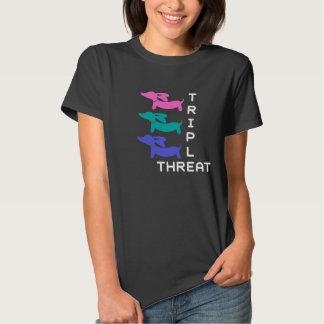 Triple Threat Dachshund (3 doxies) T-shirt