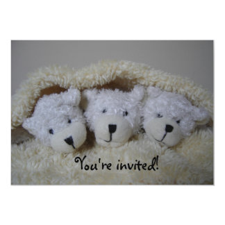 Triplet bears baby shower invitation