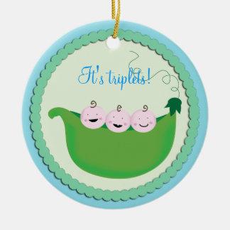 Triplet Boy 'Sweet pea' baby shower ornament