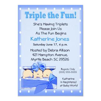 Triplet Boys  Baby Shower Invitations