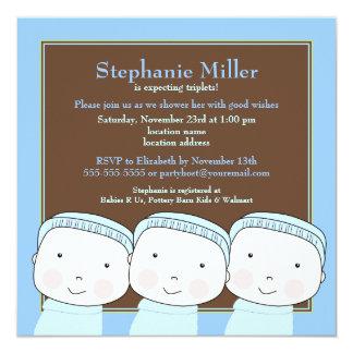 Triplet Boys Blue 3 Baby Shower Invitation