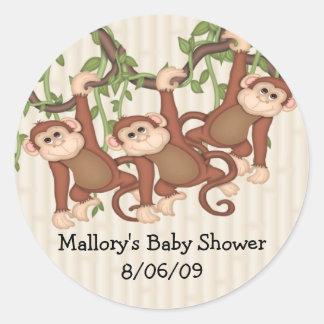 Triplet Monkeys Baby Shower Classic Round Sticker