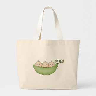 Triplet Peas in a Pod Large Tote Bag