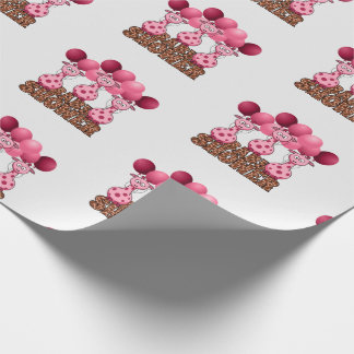 Triplet Pink Giraffes Baby Shower Safari Theme Wrapping Paper