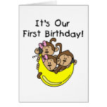 Triplets 1st - Two Girls One Boy Tshirts and Gifts Greeting Cards