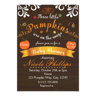 Triplets 3 PUMPKINS Autumn BABY SHOWER Invitation