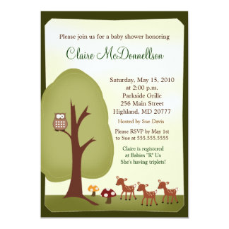 TRIPLETS Baby Deer Woodland Forest Baby Shower Card