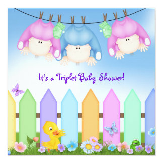 Triplets Baby Shower Card