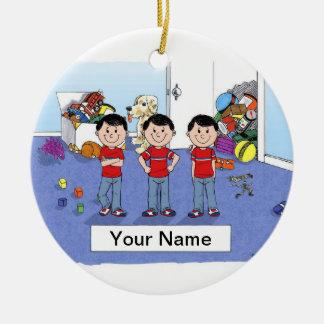 Triplets, Boys Ceramic Ornament