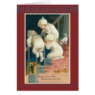 Triplets Christmas staircase Ellen H. Clapsaddle Card