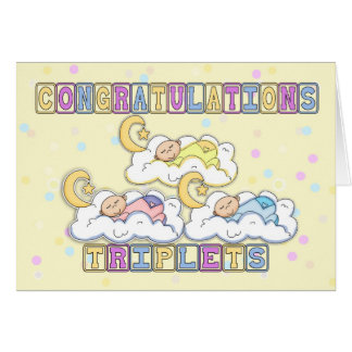 Triplets Congratulations Birth Of Triplets - Thre Greeting Card