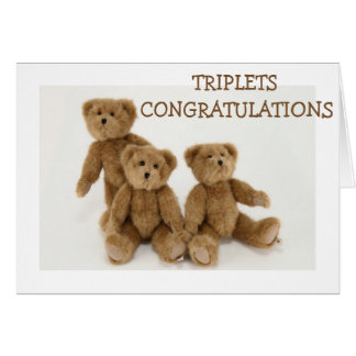"""TRIPLETS"" CONGRATULATIONS=TRIPLE LOVE HUGS KISSES CARD"