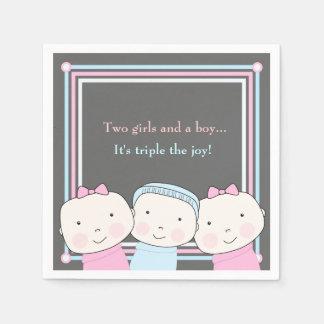 Triplets Girl Boy Pink Blue Baby Joy Napkin