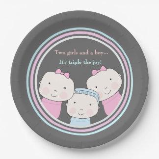 Triplets Girl Boy Pink Blue Baby Joy Trio Paper Plate