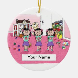 Triplets, Girls Ceramic Ornament