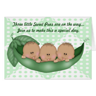 Triplets Green Baby Shower Pea in a Pod Invitation
