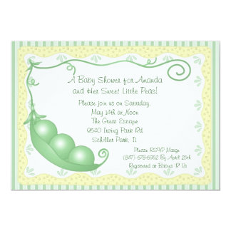 Triplets Peas in a Pod Baby Shower Invitation