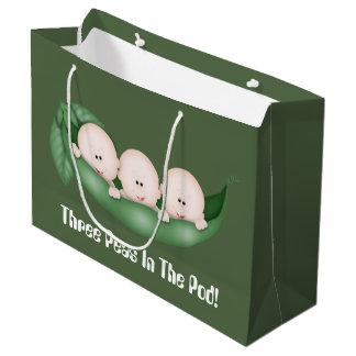Triplets Three peas pod baby shower bag
