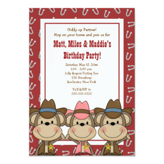 TRIPLETS Western Cowboy Monkeys 5x7 Birthday Card