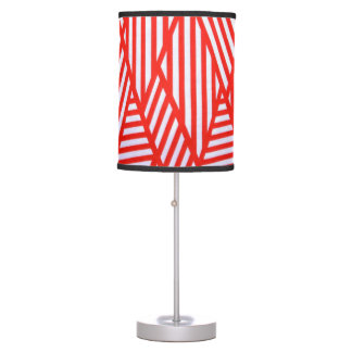 Tripod Lamp/ Red-White Geometric Design Table Lamp