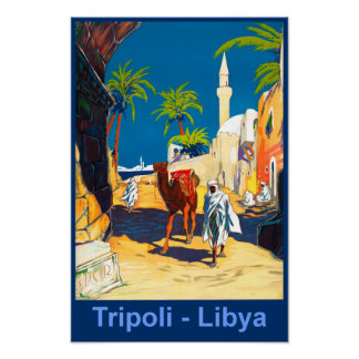 Tripoli, Libya retro travel poster