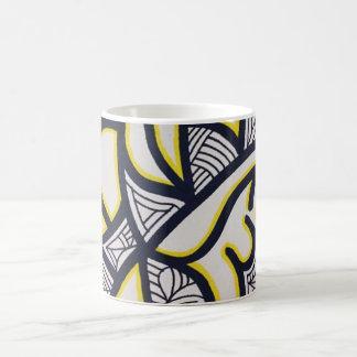 Trippy abstract yellow and black mug