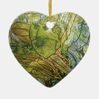 Trippy Acrylic Skin Ceramic Heart Ornament
