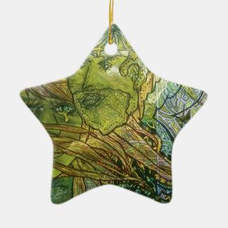Trippy Acrylic Skin Ceramic Star Ornament