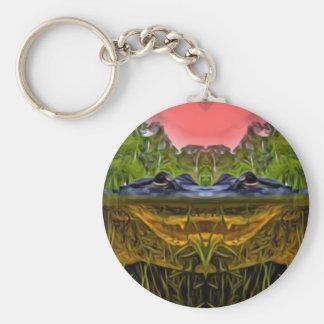 Trippy Alligator Basic Round Button Keychain