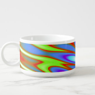 Trippy Blue Green White Abstract Chili Bowl