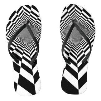 Trippy Chess Design Flip Flops! Flip Flops