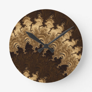 Trippy Coffee Cream Fractal Art Round Clock