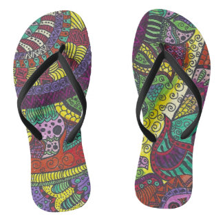 Trippy Colorful Mandala Flip Flops
