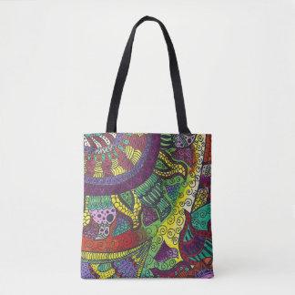 Trippy Colorful Mandala Tote Bag