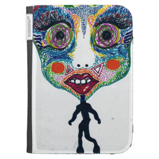 Trippy colourful doll Kindle case