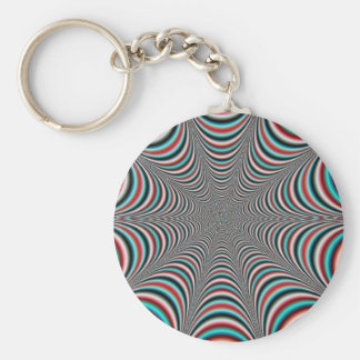 trippy design basic round button keychain