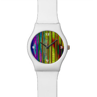 Trippy Florescent striped abstract Watch