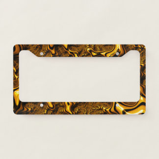 Trippy Fractal Art Chocolate Pudding Abstract License Plate Frame